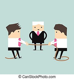 Businessman pulling rope tug of war - Businessman pulling...