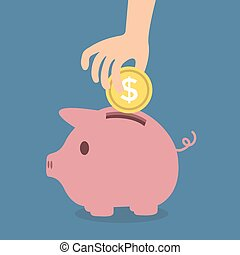 Saving money in piggybank vector