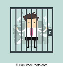 Businessman in prison vector