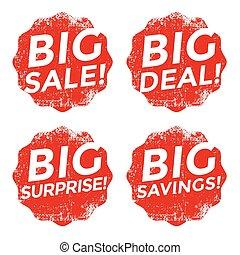 Set of red big sale grunge stamp