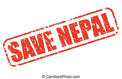 Save nepal red stamp text on white