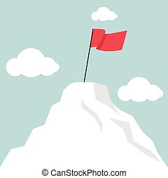 Flag marks the top of the mountain landscape vector