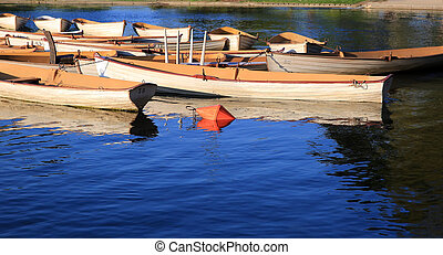 Old boats in the park harbor