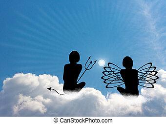 conversação, entre, anjo, e, diabo,