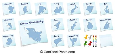 Collage of Schleswig-Holstein with counties as sticky note