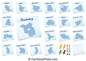 Collage of Brandenburg with counties as sticky note