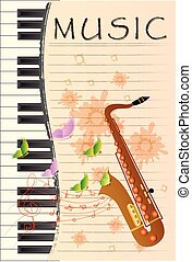 illustration of Saxophone on colorful abstract grungy...