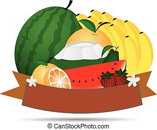 Fresh fruit  ,vector