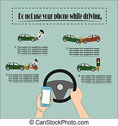 Danger, Do not use your phone while driving, Illustration...