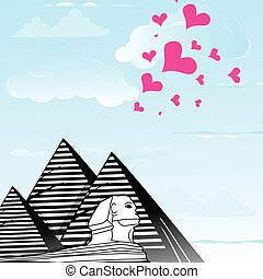 Pyramid and sphinx sphinks objects as travel love to the Cairo, Egypt , heart vector illustration