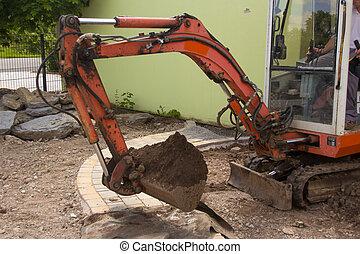 Earthwork, con, un, excavador,