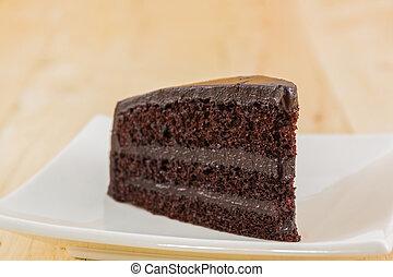Chocolate cake slice .