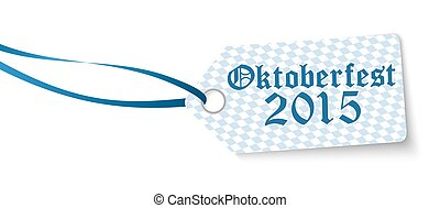 hangtag with text Oktoberfest 2015 - hangtag with blue white...