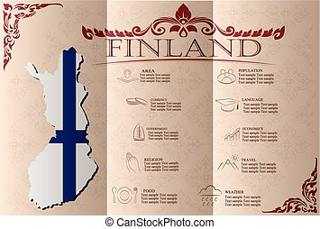 Finland infographics, statistical data, sights. Vector