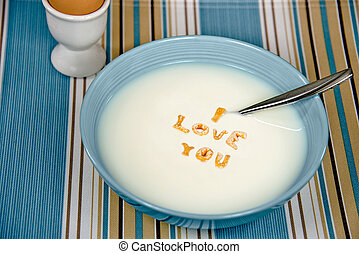 love message in cereal bowl - Romantic message with cereal...