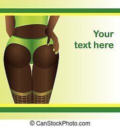 Back of a Sexy Dark Skinned Woman in Lingerie,vector