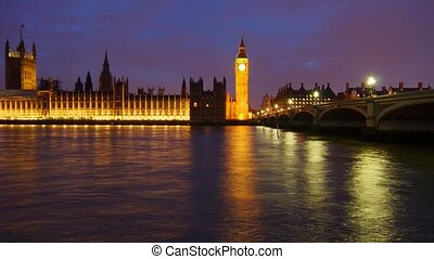 Night London - Panoramic time-lapse of Big Ben in night...