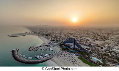 Beautiful Sunrise. Aerial View of Jumeirah Beach from Burj...