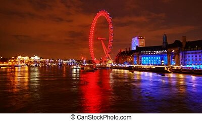 Night London - Panoramic time-lapse of night London, UK
