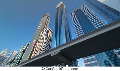 Skyscrapers at the Sheikh Zayed Road in Dubai timelapse hyperlapse