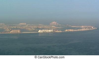 View on artificial island Palm Jumeirah in Dubai, UAE...