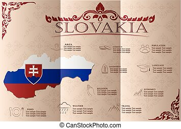Slovakia infographics, statistical data, sights Vector...