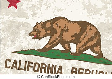 Flag of the State of California Grunge