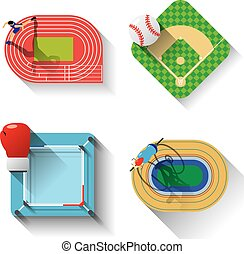 Sport fields illustration icons set with long shadow, Track...