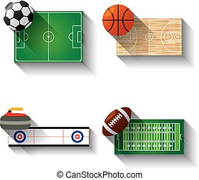 Sport fields illustration icons set with long shadow,...