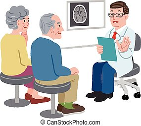 Doctor talking with his patient and the family, after CT...
