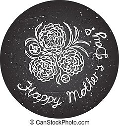 Happy mothers day card with flowers and handlettering...