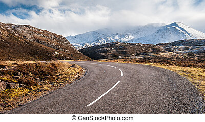 Road to Assynt - Ascending the winding, A894, road towards...
