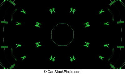 Background of moving circles of flashing green lines