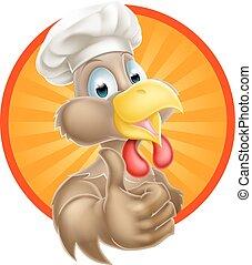 Cartoon Chef Chicken - A cartoon chicken mascot wearing a...
