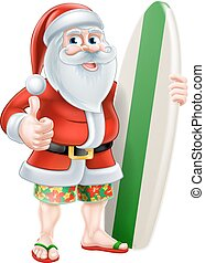 Cartoon Summer Santa - Cartoon of Santa Claus holding a surf...