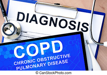 tablet with COPD - Form with word diagnosis and tablet with...