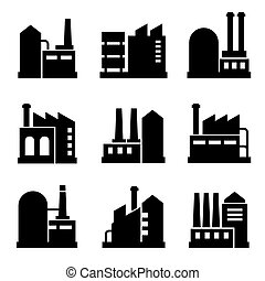 Factory and Power Industrial Building Icon Set 2. Vector...
