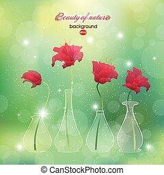 Blooming scarlet flower buds in vas