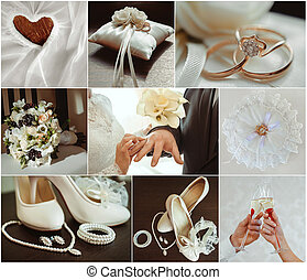 wedding photo set - Collage from wedding photos, details of...