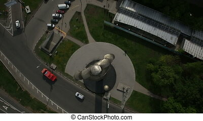 monument to Yuri Gagarin - aerial view of monument to Yuri...