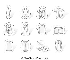 man fashion and clothes icons - vector icon set