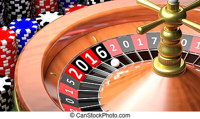 3D closeup of casino roulette with New year 2016