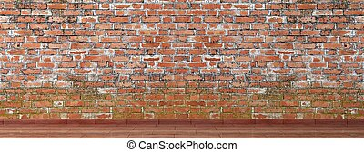 Old brick wall with wooden floor room