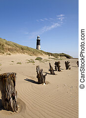 Lighthouse at Spurn Point in yorkshire England