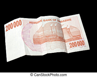 Money of Zimbabwe - 200K bill of Zimbabwe\'s dollars