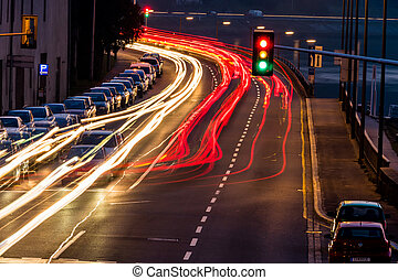 traffic in city at night, symbol of traffic, congestion, air...