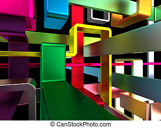 multicolored labyrinth - threedimensional endless colorful...