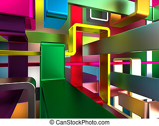colorful 3d labyrinth - abstract endless colorful metal...