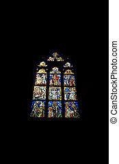Stained glass window - beautiful stained glass window in the...