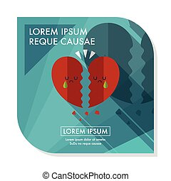 Valentines Day broken heart flat icon with long shadow,eps10...